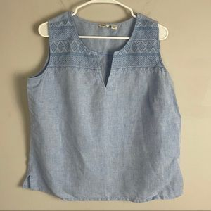 L.L. bean chambray embroidered linen tank top blue